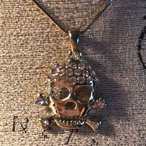 Jewelry - Cute rhinestone skull and crossbones necklace